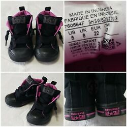 Converse All Star Toddler Girl#x27;s Size 6 Black amp; Pink Mid Slip On Shoes $16.95