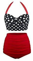 UniSweet Womens Two Piece High Waisted Bikini for Women Black red Size 5.0 f7o $9.99