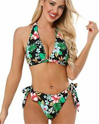 AS ROSE RICH Womens Bikini Swimsuits Bikinis for Women Black Size Large p0 $9.99