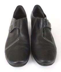 Remont Womens Heel Loafer Shoes Size 9 M 41 Black Leather Vlcro Slip On $19.97