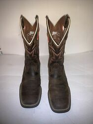 Mens 9.5 D Justin Bent Rail Brown Leather Square Toe Western Cowboy Boots $89.99