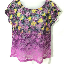 WOMENS TARGET PLUM PURPLE OMBRE LACE BLOUSE TOP BUTTONS IN THE BACK YELLOW BLUE $15.00