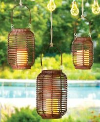 Wicker Glass Metal Indoor Outdoor LED Candle Lanterns Antique White or Natural $41.00