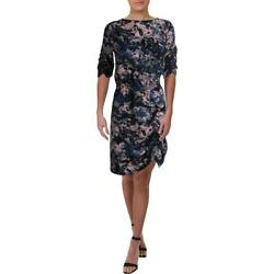 Kenneth Cole Womens Navy Printed Cinched Cocktail Party Dress S BHFO 3022 $15.99