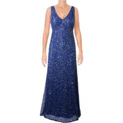 Adrianna Papell Womens Blue Beaded Fishtail Semi Formal Dress Gown 4 BHFO 3460
