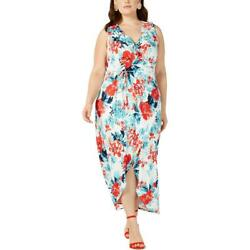 Love Squared Womens Ivory Faux Wrap Floral Print Maxi Dress Plus 1X BHFO 1166 $7.99