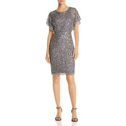 Adrianna Papell Womens Silver Sequined Beaded Party Cocktail Dress 8 BHFO 1708