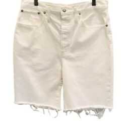 Madewell Womens Long Jean Shorts White Pocket Button Fly Frayed Hem High Rise 31 $25.09