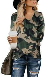 BMJL Women#x27;s Casual Cute Shirts Leopard Camo Print amp; V Neck 02 Size Small EbN8