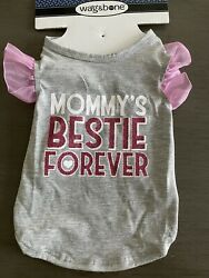 WAG N#x27; BONE Gray Pink T Shirt quot;MOMMY#x27;S BESTIE FOREVERquot; Puppy Dog SMALL $14.50