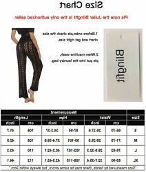 Womens Cover Up Pants Sexy Hollow Out Crochet High Waist Black 3 Size Large si $9.99