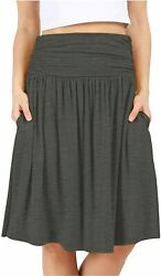 Grey Skirts for Women Reg and Plus Size Skirts a Line Knee Charcoal Size $13.99