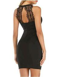 Women#x27;s Casual Sleeveless Halter Neck Lace Backless Cocktail Black Size Small $9.99
