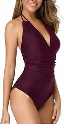 Holipick Halter Tummy Control Swimsuit for Women Sexy V Neck Purple Size Small $9.99
