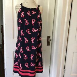 NWT Crow and Ivy Navy Pink Lobster Sleeveless Tie Back Sun Dress Sz Large $89 $29.99