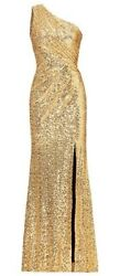 Bridesmaid Dress Evening Party Gown Sequins One Shoulder Side Split Long US24W $55.00