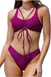 CUPSHE Women#x27;s Bikini Swimsuit Solid Purple Ruched Low Purple Size X Small S4h $9.99