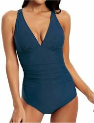 CLUCI Tummy Control Swimsuits for Women One Piece Grey Blue Size X Large qioa $9.99