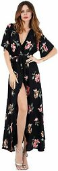 Escalier Women#x27;s Floral Maxi Dress Split Beach Flowy Party Dresses 03 Size 2.0 $9.99