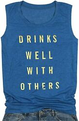 Women Funny Drinking Tank Drinks Well with Others Tank Top Blue Size X Large U $12.00