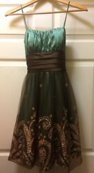 Blondie Nites Stacy Sklar Green Brown Gold Wide Strap Party Formal Prom Size 3 $29.99