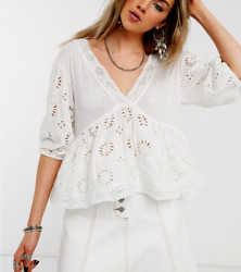 Free People Sweeter Side Size Small White Eyelet Blouse Top Lace Boho Peplum S $29.88
