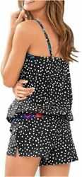 Wenly zeng Womens Printed Two Piece Swimsuits Tankini Tops A black Size Large $13.99