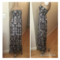 GUESS Maxi Dress Skirt Long Sheer Floral Boho Strapless Size S Blue White $16.99