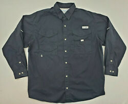 Columbia PFG Black Long Sleeve Cotton Vented Fishing Shirt Mens Size Large $24.00