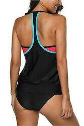 CharmLeaks Womens Swimsuits Tankini Swimsuit Double Up 2 Red Black Size Large $13.99