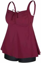 Septangle Women#x27;s Plus Size Bathing Suits Paisley Print Two Wine Red Size 14.0 $13.99