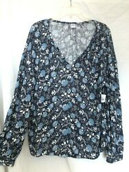 Old Navy Peasant Boho Floral Knit Blouse Top Shirt Size: XXL New $21.90