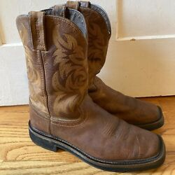 Justin Men's 9.5 D Stampede Square Soft Toe Waterproof Work Boots Leather Nice $35.00