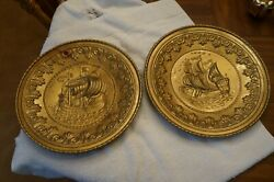 SET OF 2 MADE IN ENGLAND METAL WALL DECORATIONS WITH SHIPS $9.99