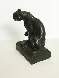 VTG Antique Antique 151 Paul Herzel Pompeian Bronze Leopard Jaguar Tiger Bookend $250.00