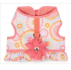 Simply Dog PINK FLORAL SUNBURST WITH FLOWER AND RUFFLE HARNESS Puppy Dog MEDIUM $22.50