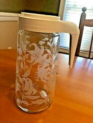 Vintage Tang Anchor Pitcher Carafe Clear Glass Etched Lily w Lid 1 Qt $19.50
