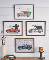 Country Farm Vintage Decor Plaid Truck Wall Art by Marla Rae Sentiment Saying $29.99