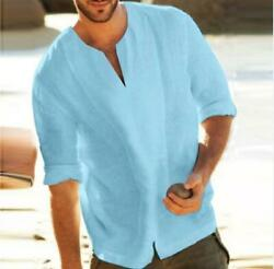 Mens Fashion Cotton Baggy Blouse Long Sleeve Loose Fit Casual Linen T shirt Tops $14.40