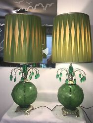 Vintage Mid Century Modern Table Lamps Raised Glass Globes Retro Waterfall Prism $359.99
