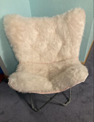 Light Pink Faux Fur Butterfly Chair 250lb Weight Limit Teen Bedroom Dorm Room $30.00