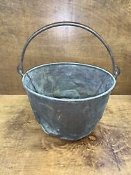 Antique Large Copper Pail Coal Bucket Wrought Iron Sling Great Patina Character $60.00