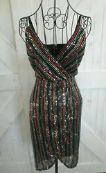 Betsey Johnson Rainbow Black Sequin Party Cocktail Cruise Wrap Disco Mini Dress