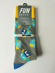 Fun Socks Dreidel Socks Grey Multi Mens One Size 6 12 $4.49