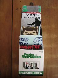 NWT novelty socks size 8 12 6 pair Parks Recreation Ron Swanson Leslie Knope $12.99