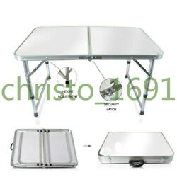NEW 4#x27; Aluminum Folding Table Portable In Outdoor Picnic Party Camping Table $29.99