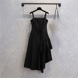 Women Gothic Dress Lace Up Ruffle Strap Sleeveless Irregular Punk Retro Black