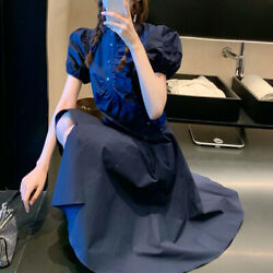 Women Ruffle Gothic Dress Frilly Button Puff Sleeve Irregular Hem Retro Summer