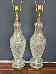 Waterford Crystal Large Tall Pair Lamps Lamp 37.5 Inch Base Finial FREE SHIP $999.00