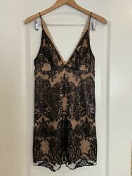 NEW Free People Night Shimmers Mini Dress Black Sequin Size 0 $108